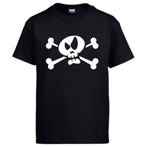 Camiseta negra de calavera para pirata