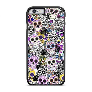 Funda-carcasa-para-Apple-iPhone-6-6S-Plus-estampado-sticker-bomb-calaveras-mexicanas-borde-negro-0