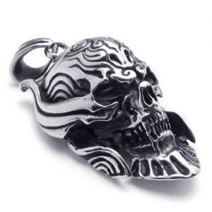 KONOV-Joyera-Collar-con-Colgante-de-hombre-Cadena-45-65cm-Calavera-Crneo-Tribal-Gtico-Retro-Vintage-Acero-inoxidable-Color-negro-plata-con-bolsa-de-regalo-0