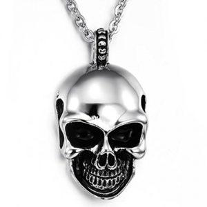 KONOV-Joyera-Collar-con-Colgante-de-hombre-Cadena-45-65cm-Tribal-Gtico-Calavera-Crneo-Acero-inoxidable-Color-negro-plata-con-bolsa-de-regalo-0