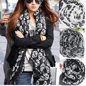 alltree-Unisex-Calavera-Imprimir-gasa-Bufanda-Kerchief-ornamentales-cozy-black-0