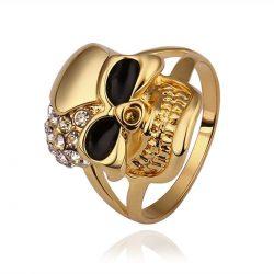 anillo de calavera unisex bañado en oro