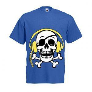 camiseta de calavera pirata con auriculares