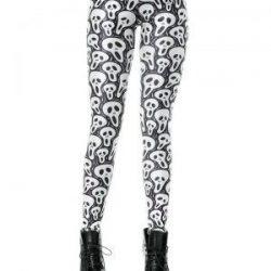 leggins en blanco y negro con estampado de calaveras