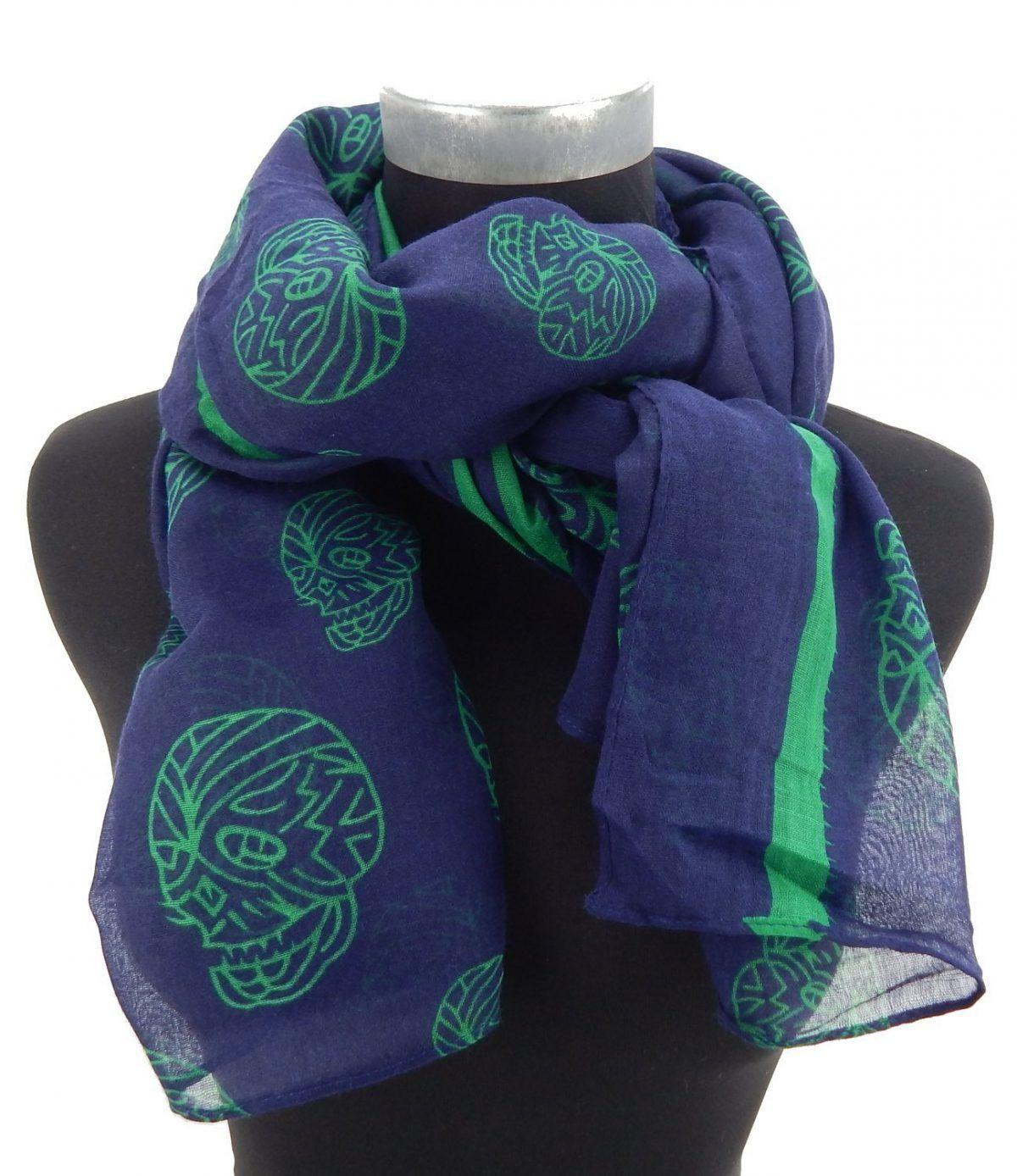 pañuelo azul y verde de calaveras