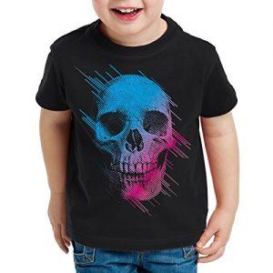 style3-Neon-Skull-Camiseta-T-Shirt-para-Nios-calavera-disco-neon-festival-0