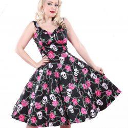 vestido años 50 de calaveras y rosas